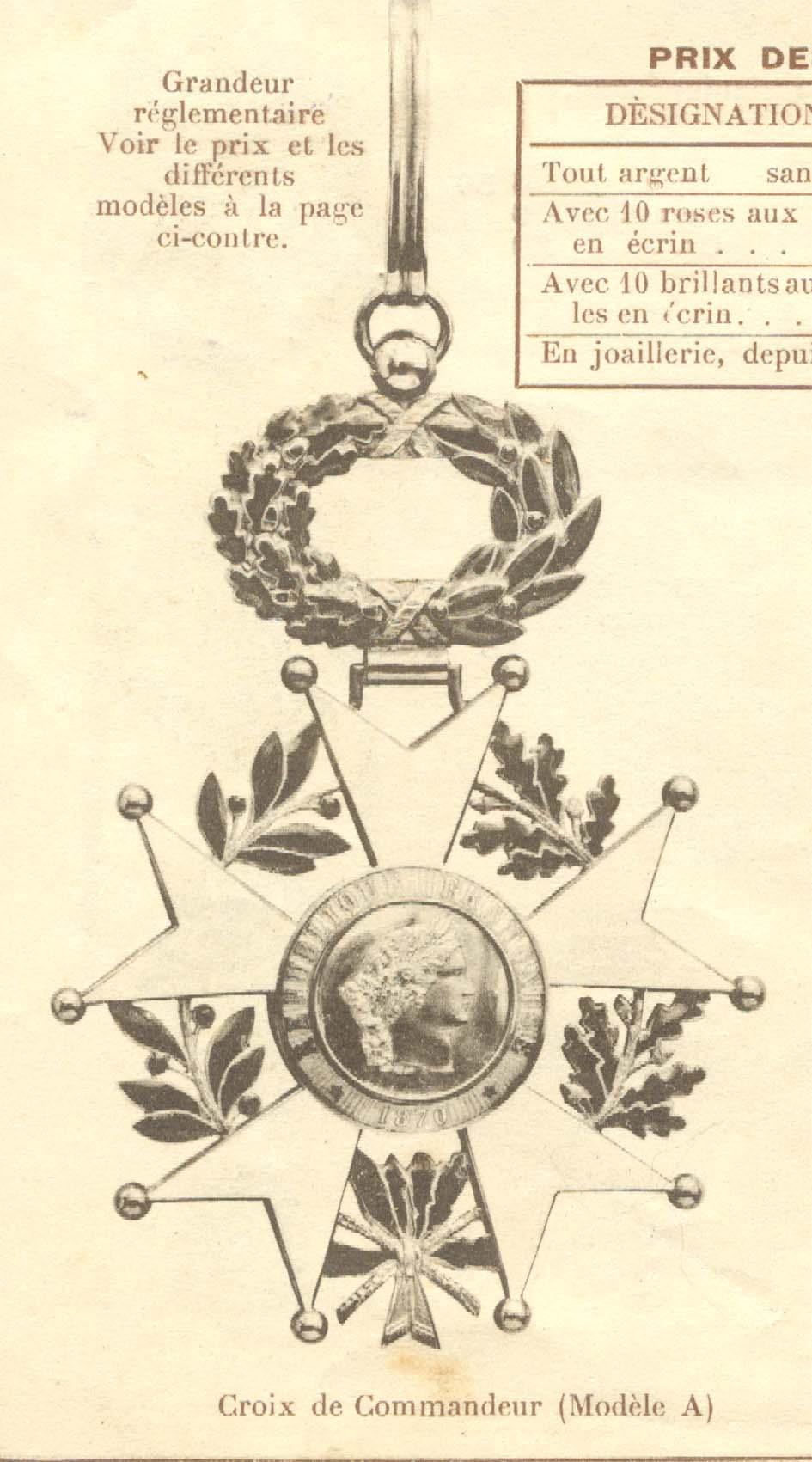 Croix de Commandeur de la légion d'honneur 3ème république: Sans_260