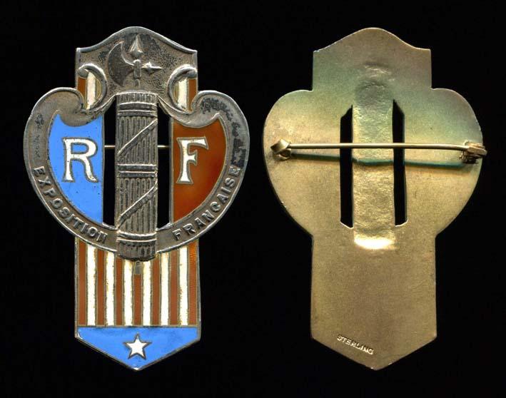 Insigne Franco-Américain en argent - Exposition Française Usa_in11