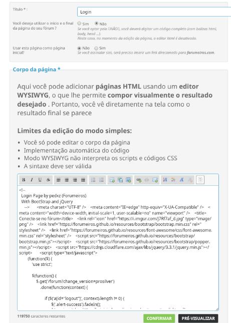 Anexar página HTML como Início Screen30
