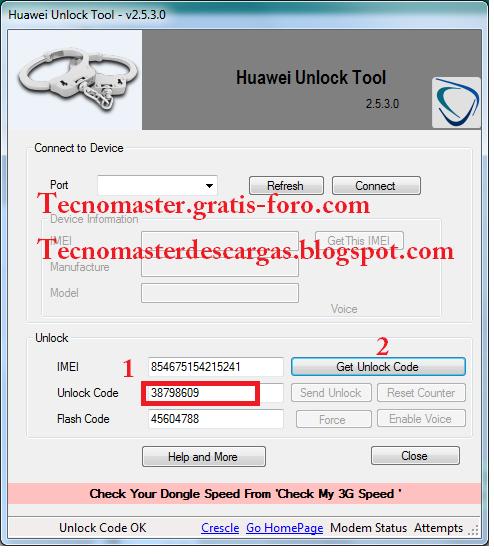 Herramienta para liberar módem huawei del año 2012 641d2q10