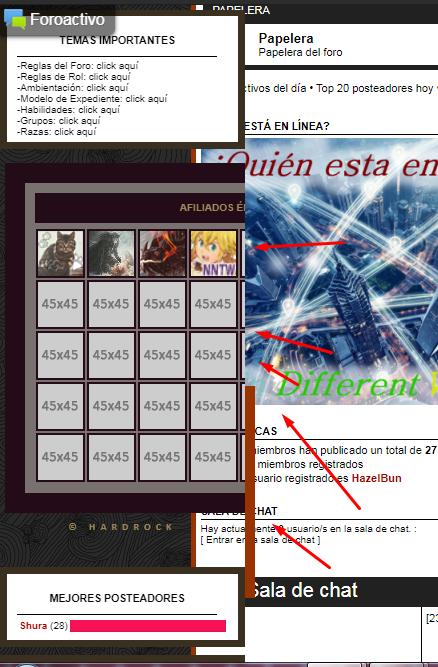 La tabla de afiliados se mantiene en los widgets y no al pie del foro. Screen18
