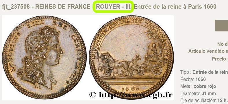Jeton entrée de la reine à Paris 1660. Cgb_fr10