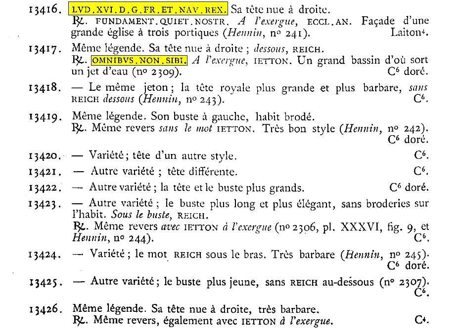 Jeton Louis XVI, OMNIBUS NON SIBI. Feuardent. Feuard10
