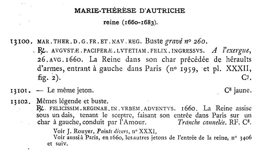 Jeton entrée de la reine à Paris 1660. Tomo_i10