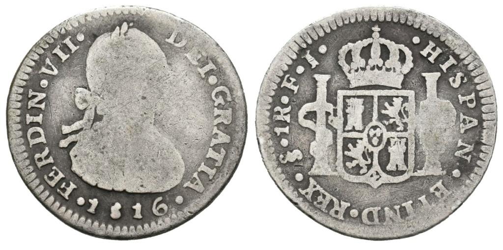 1 Real 1816. Fernando VII. Santiago de Chile. 1_real10