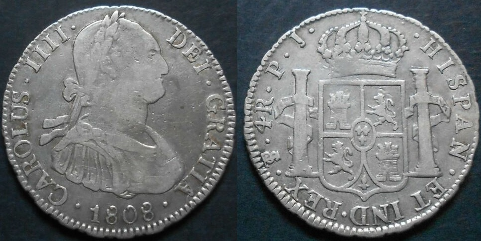 4 Reales 1808 Carlos IV Potosí  4_real11