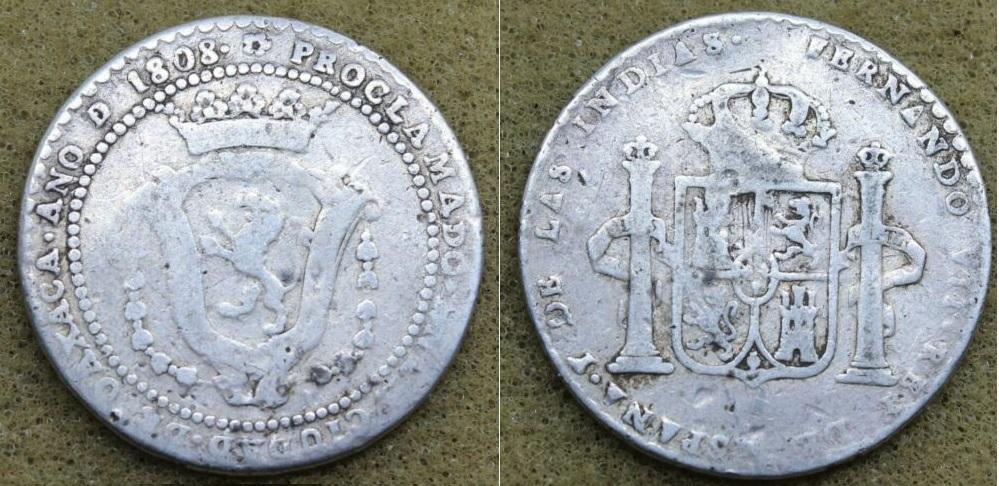 2 Reales Medalla de proclamación Fernando VII Oaxaca 1808 Oaxaca10