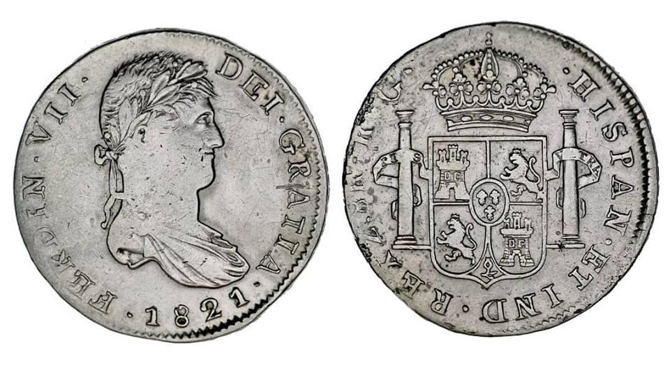 8 Reales 1821 Fernando VII Zacatecas Zacate10