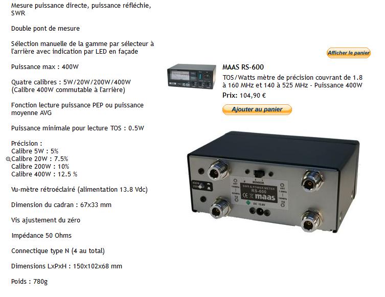 ( VENDUE )SWR & POWER METER - MAAS RS 600 , NEUF !! Maas_13