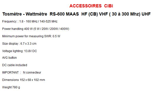 ( VENDU )SWR & POWER METER - MAAS RS 600 , NEUF !! Maas_r10