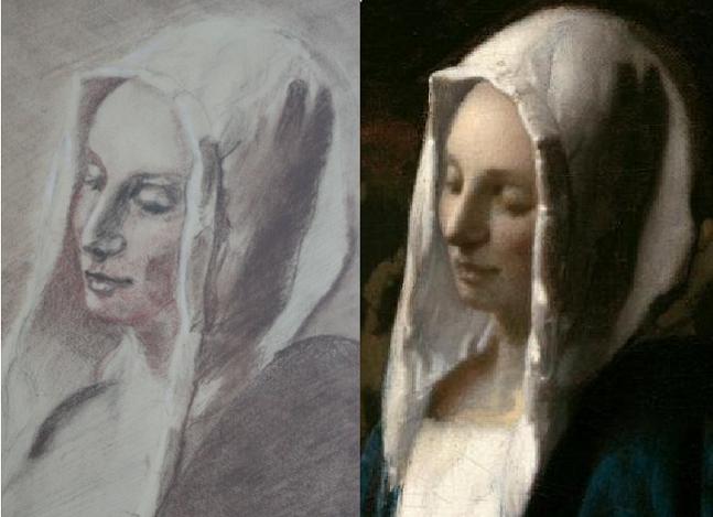 Dessin trois crayons - portrait de jeune femme Compar10