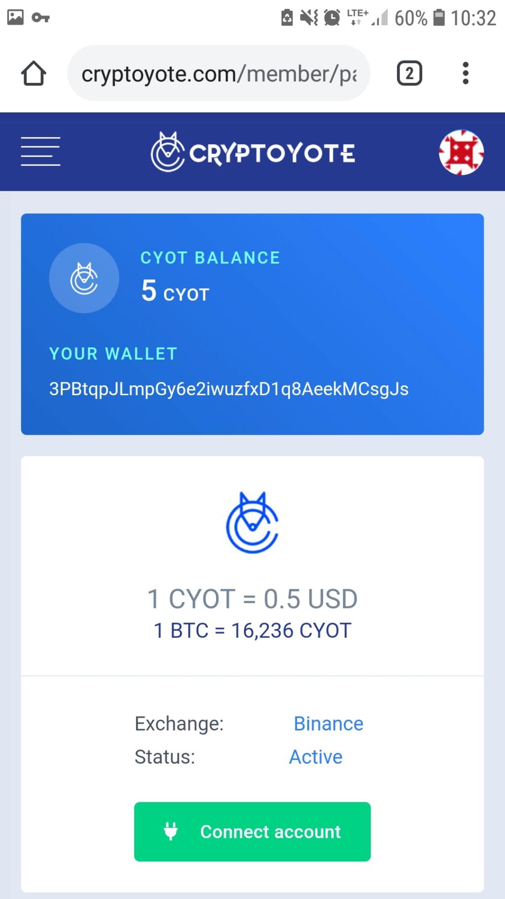 CRYPTOYOTE 5CYOT=2.5USD Screen24
