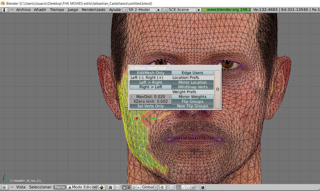 Problemas con script de BLENDER para reflejar selección  (mirror vertex location & weight) Screen45