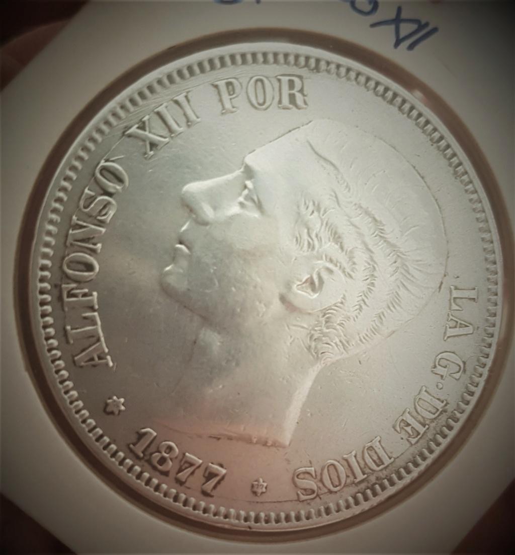 5 pesetas Alfonso XII 1877 *18-*77 DEM 20200916