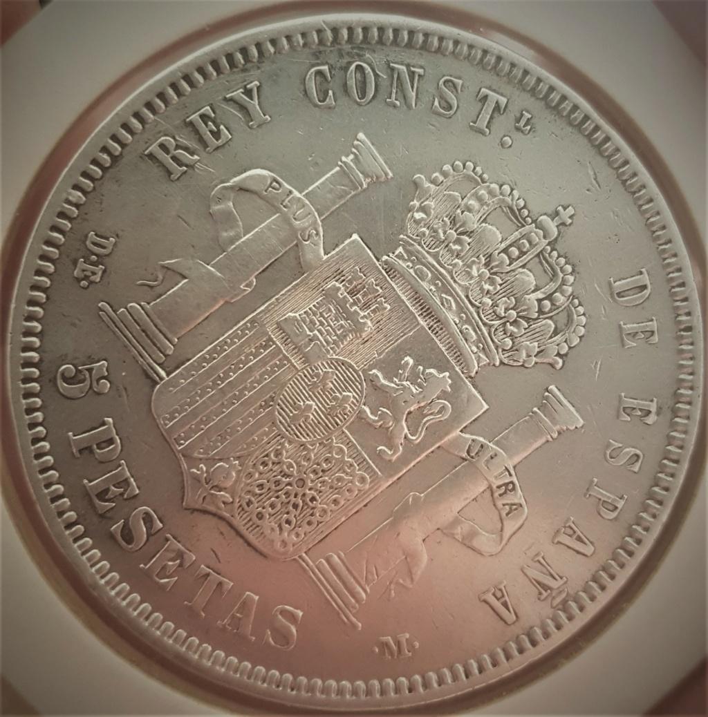 5 pesetas Alfonso XII 1877 *18-*77 DEM 20200917