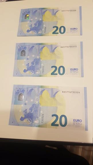 Trío correlativo billetes 20 Euros Draghi Luxemburgo RA - R007B1 20200922