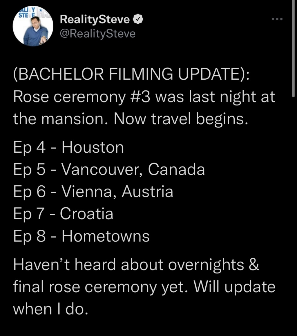 Bachelor 26 - Clayton Echard - Filming Schedule - NO Discussion - *Sleuthing Spoilers* 3e446a10
