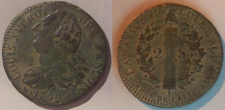 """2 sols dit """"au faisceau"""", type FRANÇOIS .1792. 2_sols10"""
