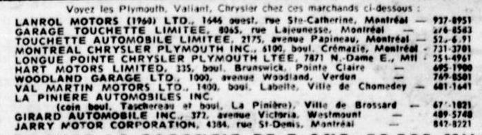 Les anciens dealers Mopar du Québec 1965_l10