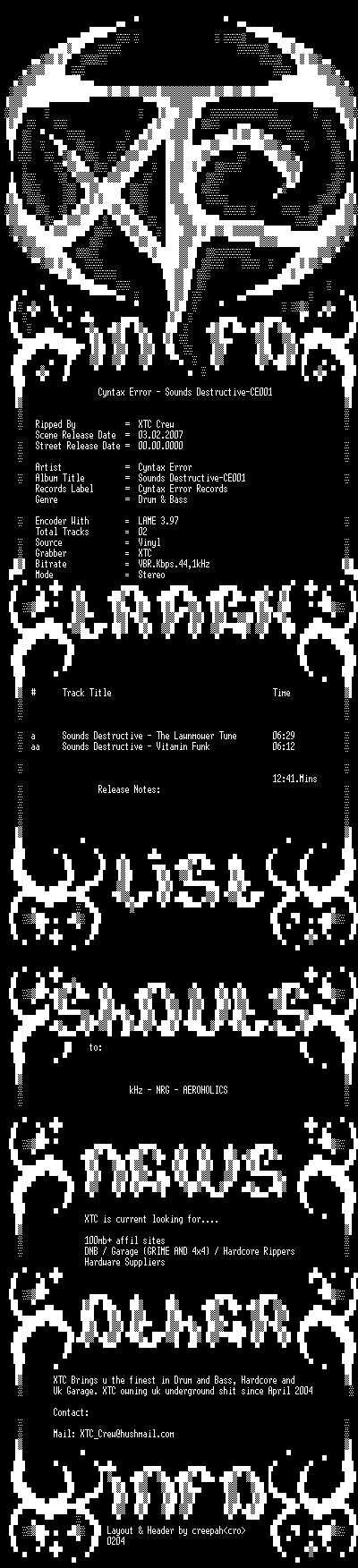 [DnB] Sounds Destructive – CE001 – Cyntax Error Rec. Ce00110
