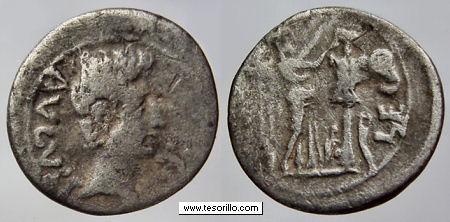 Quinario de Emerita (por Augusto,  25-23 a.C.) August10