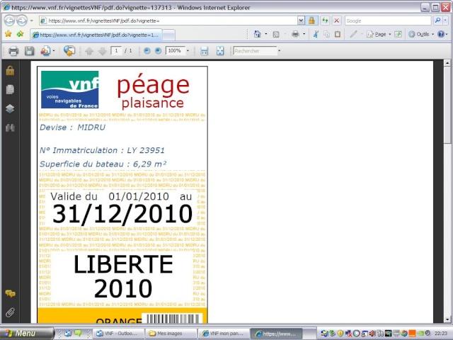 Achat vignette VNF 2010 par internet Pagefi10