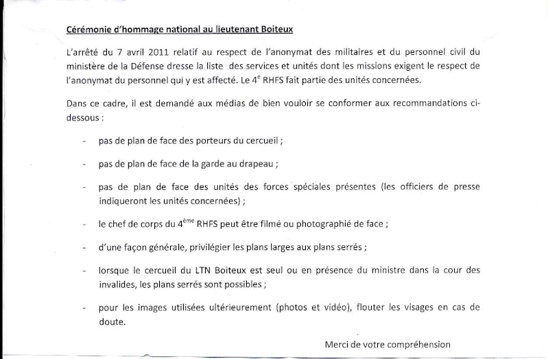 Boiteux Dominique Chef de Bataillon 4ème RHFS Mort au Champ d'Honneur au Mali le 11 janvier 2013 - opération SERVAL Consig10