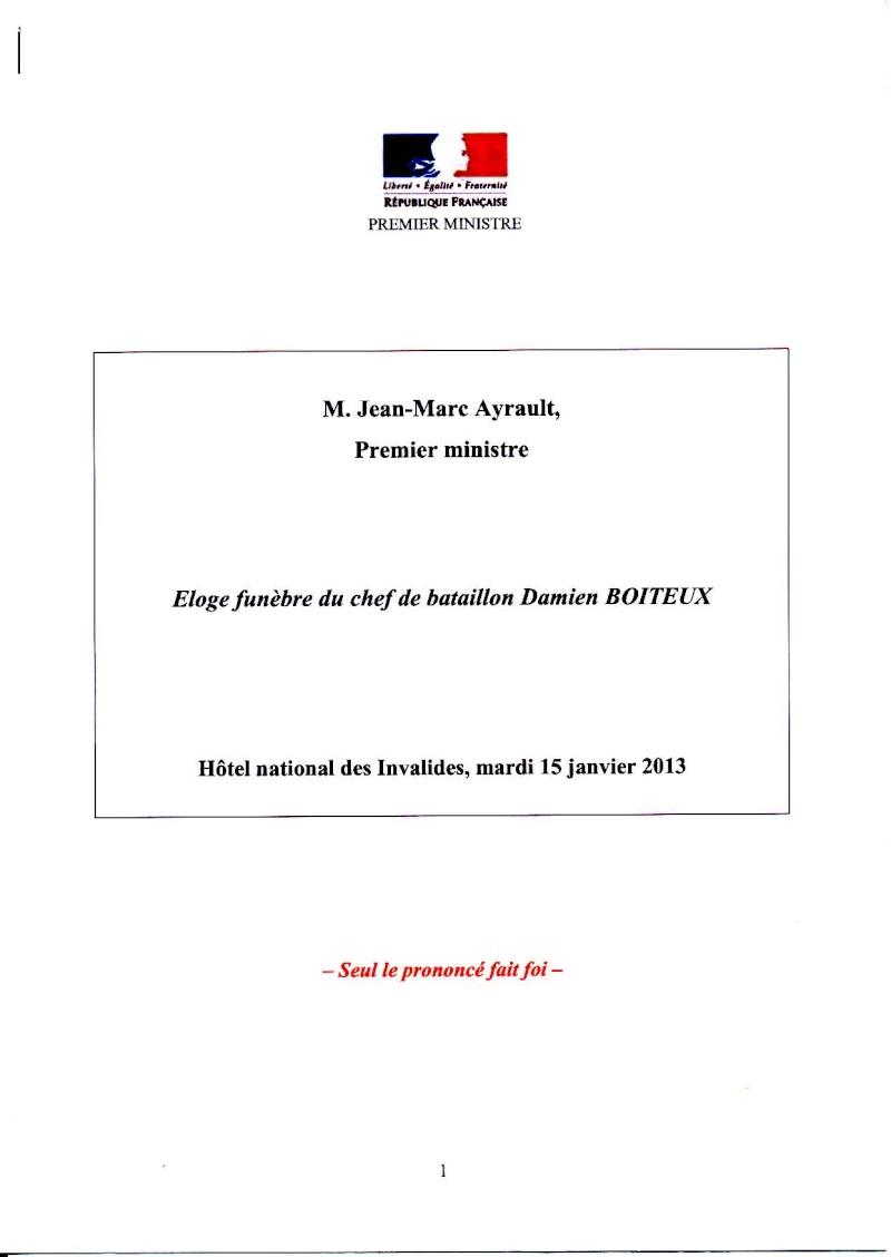 Boiteux Dominique Chef de Bataillon 4ème RHFS Mort au Champ d'Honneur au Mali le 11 janvier 2013 - opération SERVAL Eloge_10