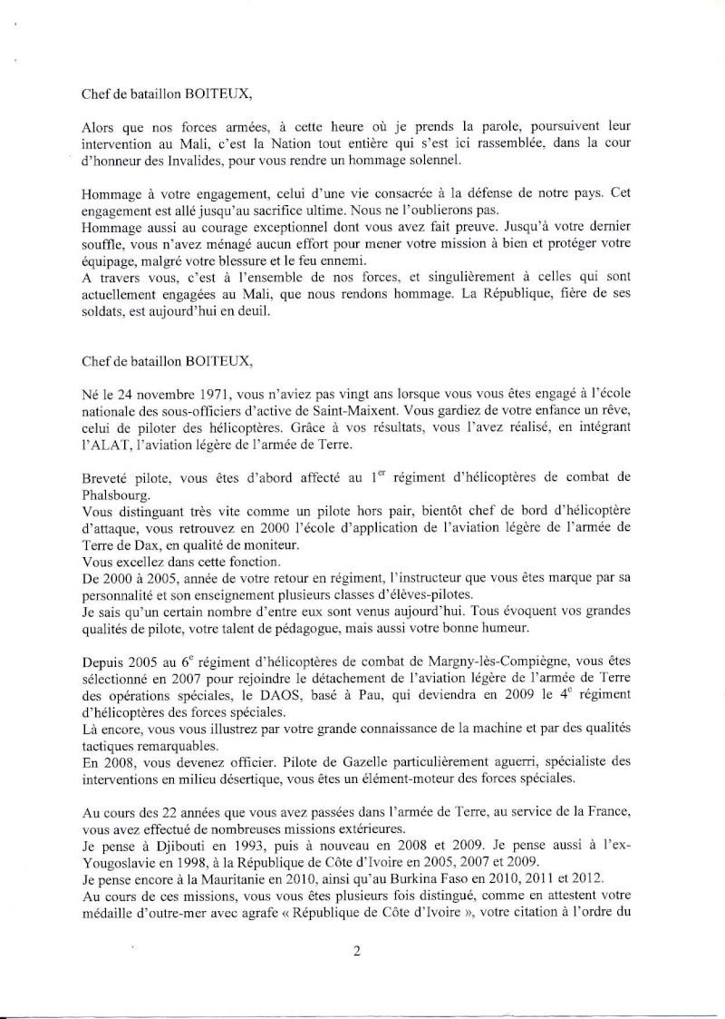 Boiteux Dominique Chef de Bataillon 4ème RHFS Mort au Champ d'Honneur au Mali le 11 janvier 2013 - opération SERVAL Eloge_11