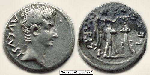 Quinario de Emerita (por Augusto,  25-23 a.C.) Emerit10