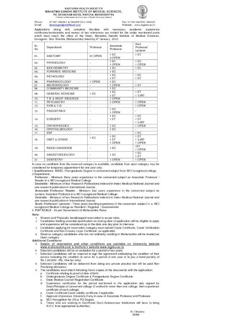 MGIMS, Sevagram, Wardha Advert10