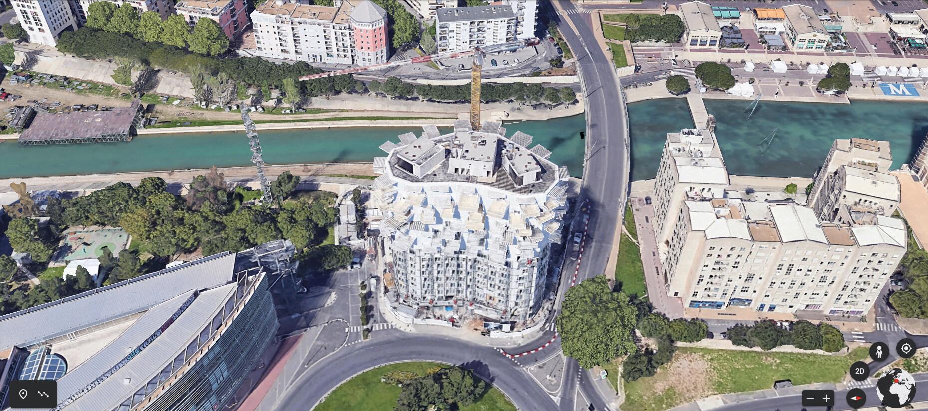 """(Bientôt visible sur G.E.) L'immeuble """"L'arbre Blanc' à Montpellier Captur17"""