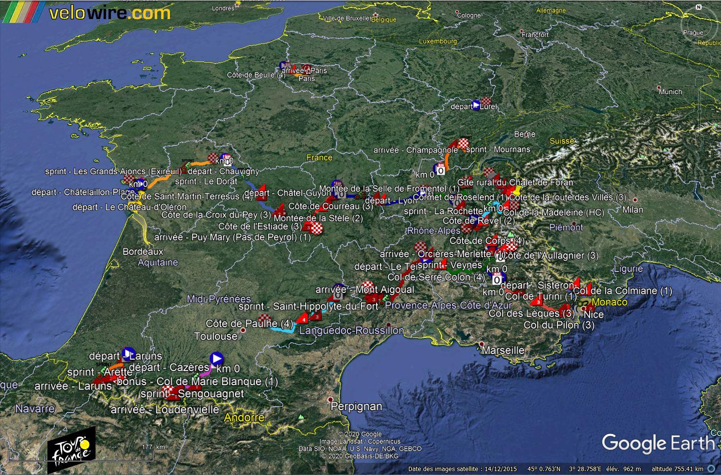 [KMZ] Le parcours du Tour de France 2020 dans Google Earth Tsge1644