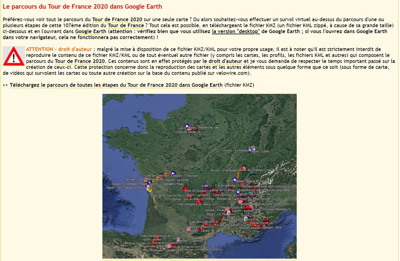 [KMZ] Le parcours du Tour de France 2020 dans Google Earth Tsge1645