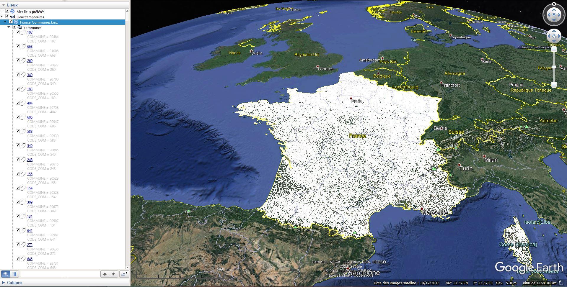 [KML] Limites des communes de France avec Google Earth Tsge2172