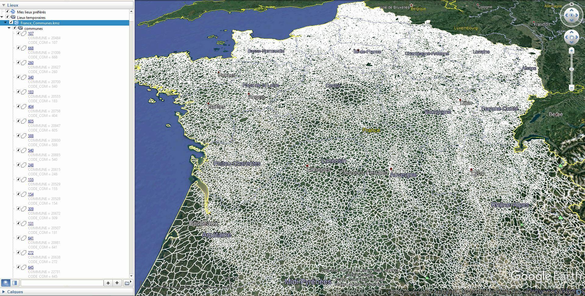 [KML] Limites des communes de France avec Google Earth Tsge2173