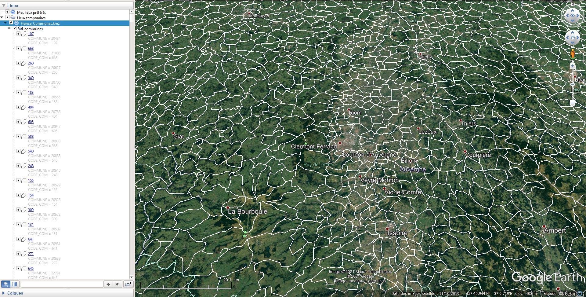 [KML] Limites des communes de France avec Google Earth Tsge2174