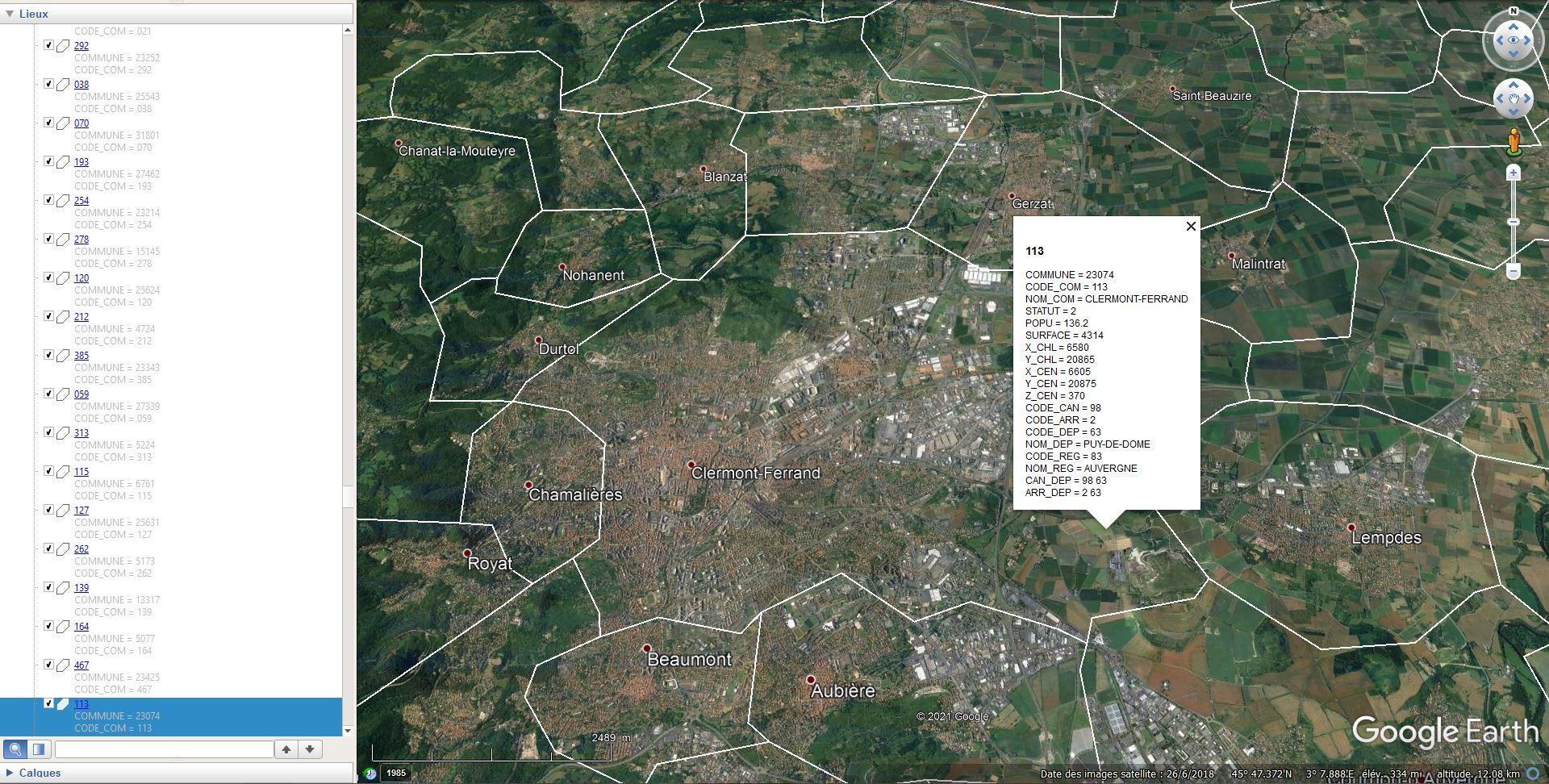 [KML] Limites des communes de France avec Google Earth Tsge2175