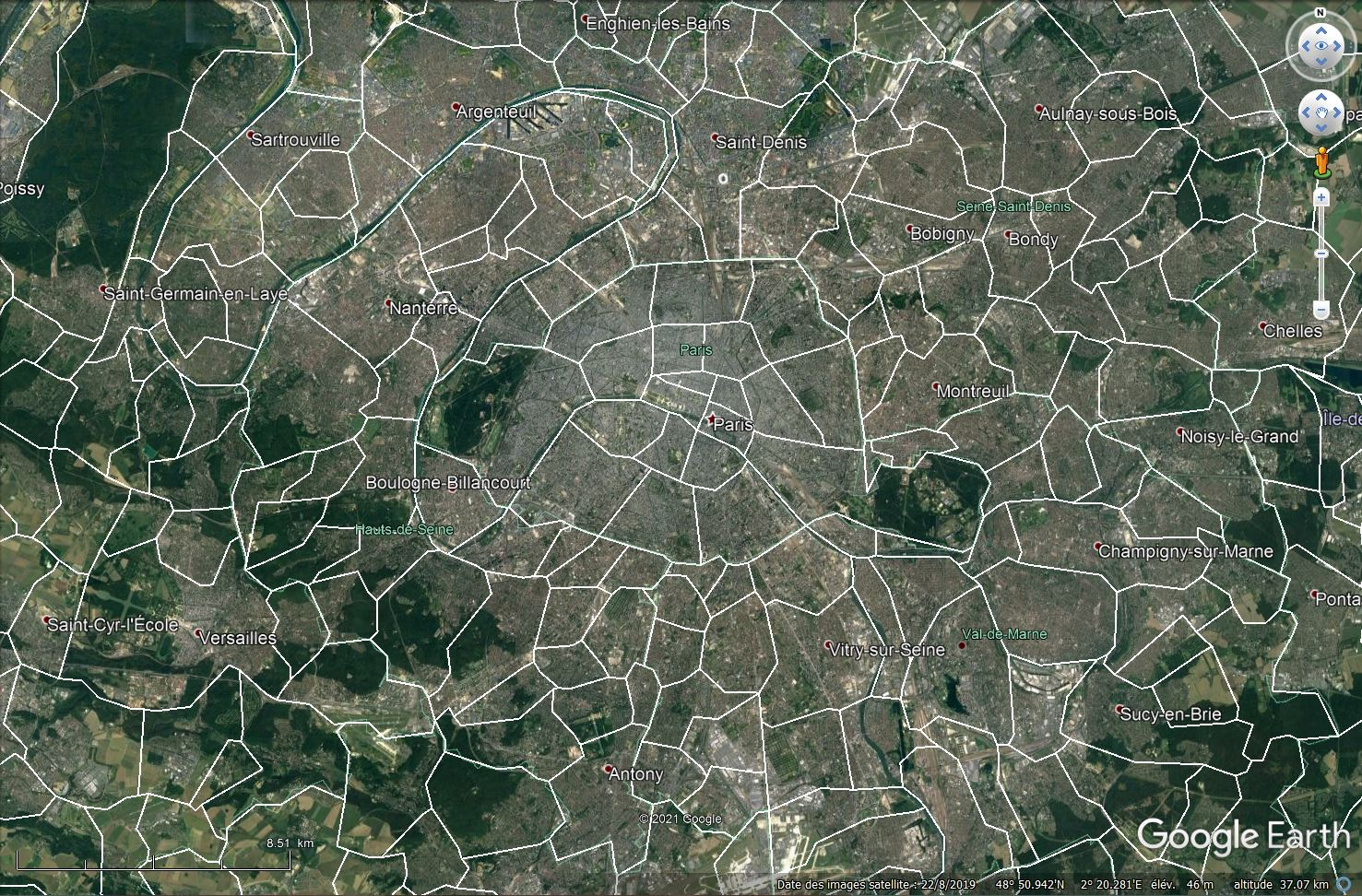 [KML] Limites des communes de France avec Google Earth Tsge2176