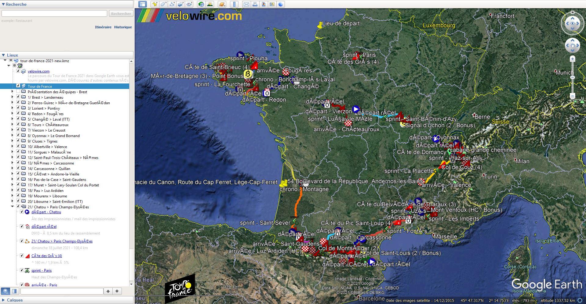 [KMZ] Le parcours du Tour de France 2021 dans Google Earth Tsge2346