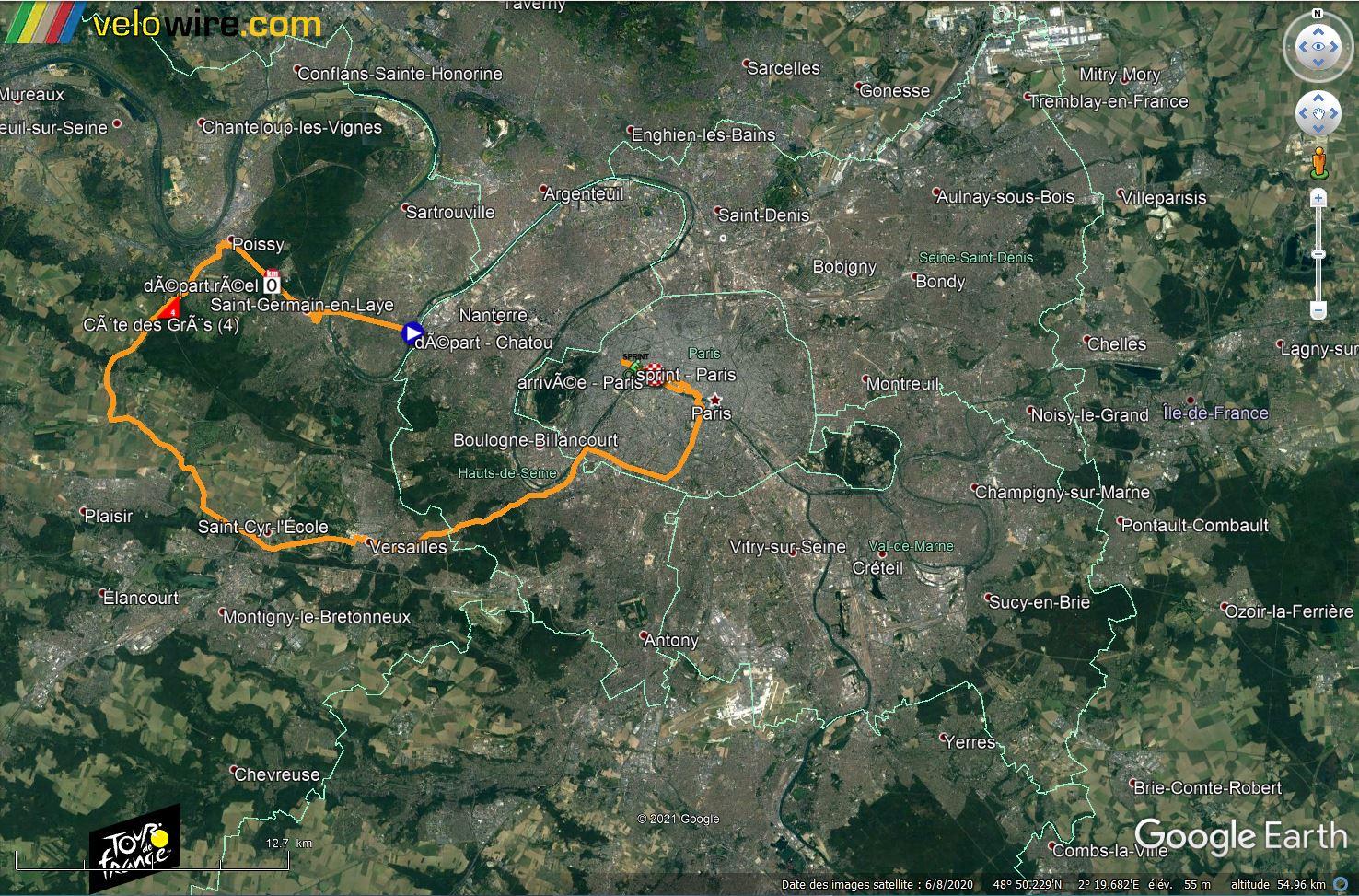 [KMZ] Le parcours du Tour de France 2021 dans Google Earth Tsge2348