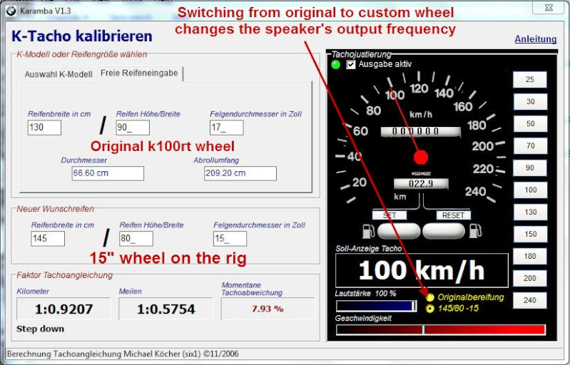 Karamba speedometer calibration program tutorial Karamb10