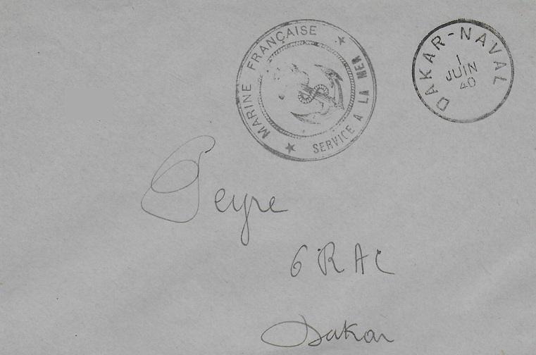 Bureau Postal Naval Temporaire N° 33 de Dakar 40-0610