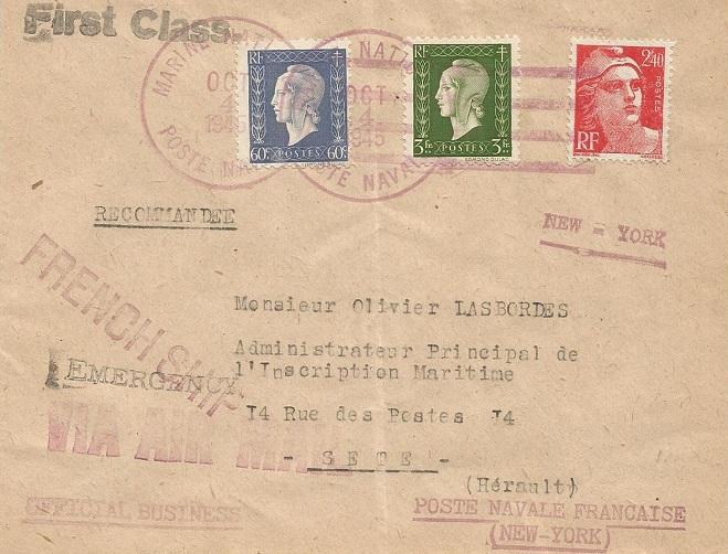 Cachets du Bureau Naval de New York 45-1011