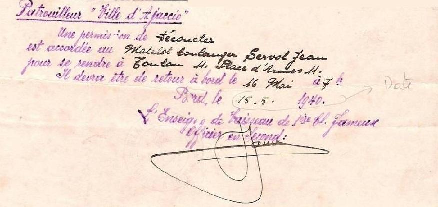 * VILLE D'AJACCIO (1939/1940) * 665_0010