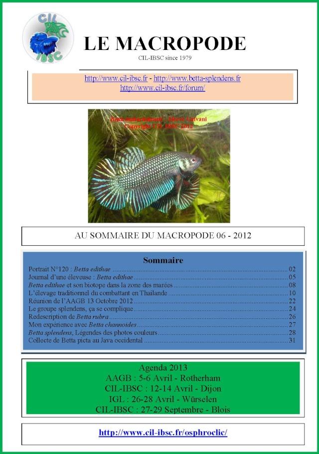 Sommaires revue du Macropode. 2012-010