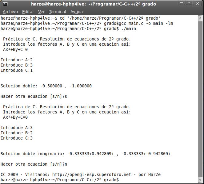 [Ejemplo de C: muy básico] Solucionar ecuaciones de 2º grado Pantal10