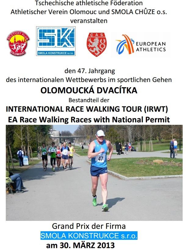 30/03/2013 à Olomouc (Rép Tchéque): 20km (chpt), 10, 5, 3 km Olomou10