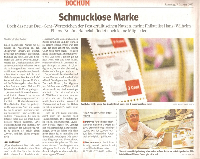 3-Cent-Briefmarke der Deutschen Post in der Diskussion Scanne19