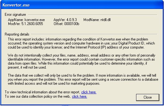 New version Konvertor FM 4.09 Build 3 shows error Error210